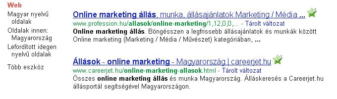 Online marketing állások keresés a Google.hu-n